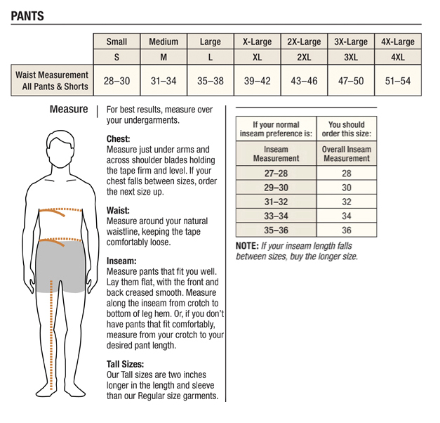 Carhartt Men's Pants/Shorts Sizing Chart