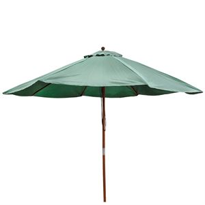 Green Umbrella with Wooden Pole