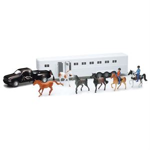 Black Truck and White Trailer Playset
