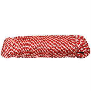 Derby Poly Rope, Red and White, 1/4 In. 50 Ft.