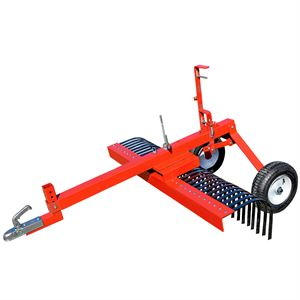 5' Landscape Rake With Wheel For ATV 24 Tines