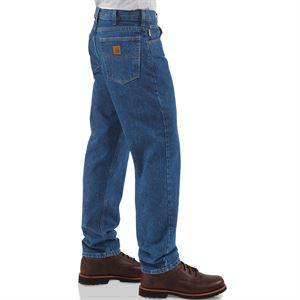 Straight/Traditional-Fit Tapered-Leg Darkstone Jean, 38 x 34