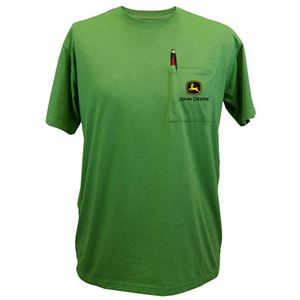 Men's Large Short Sleeved Green  John Deere Pocket Tee Shirt