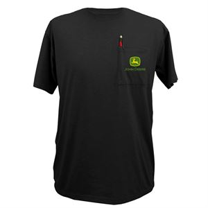 Men's X-Large Short Sleeved Black John Deere Pocket Tee Shirt