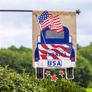 Patriotic Truck House Flag 28 inches x 44 inches