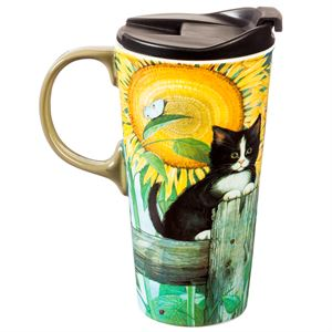 Sunflower Cat Ceramic Travel Mug