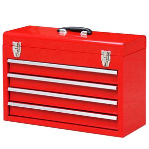 4 Drawer Red Tool Box with Handle