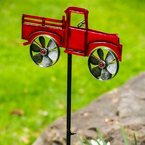 """47"""" Red Truck Garden Stake with Spinning Wheels"""
