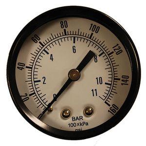 Pressure Gauge, 0 to 160 PSI, 2 In. x 1/4 In. NPT CBM