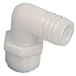 Nylon Hose Barb Elbow, 3/4 In. MPT x 1 In. HB, 2 Pack