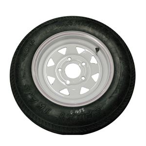 Trailer Tire and Wheel, 5.30 - 12, LRB, 5 on 4 In.