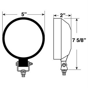 12V TRAPEZOID ROUND STEEL TRACTOR LIGHT