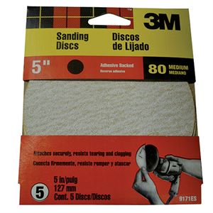 Adhesive Sanding Disc, 80 Medium Grit, 5 In., 5 Pack