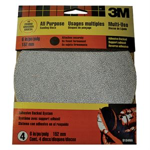 Adhesive Sanding Disc, 40 Coarse Grit, 6 In., 4 Pack