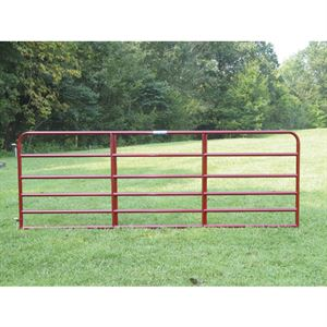 10 - 6 Bar Red Tube Gate, 1-3/4 Round x 19 Gauge
