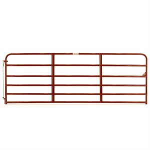 16 - 6 Bar Red Tube Gate, 1-3/4 Round x 19 Gauge