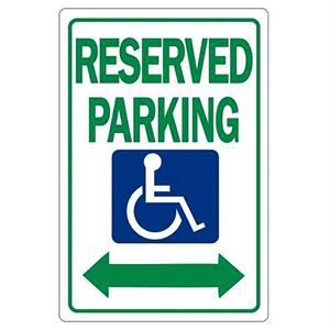 Reserved Parking Handicap with Double Arrow