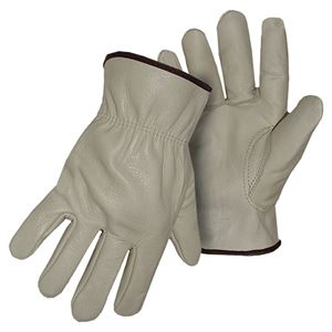 Large Unlined Grain Leather Elastic Back Gloves