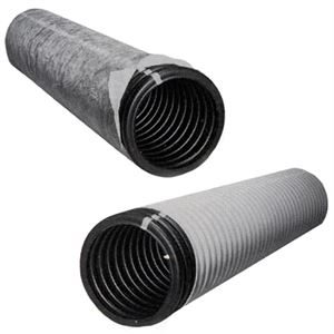 4 In. Perforated Drain Pipe, Perforated, Black Sock, 100 Ft. Long