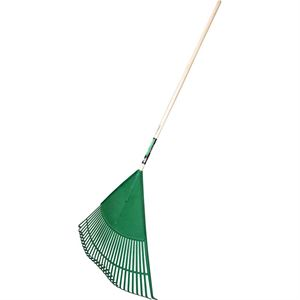 Poly Lawn Rake, Wooden Handle, 30 In.