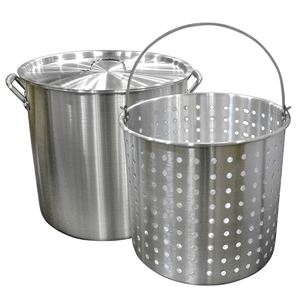 Carolina Cooker 60 Quart Aluminum Stock Pot, Basket, Lid