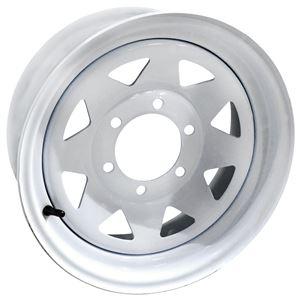 Trailer Wheel, 15 X 6, White 8 Spoke, 6 On 5.5 Bolt Pattern