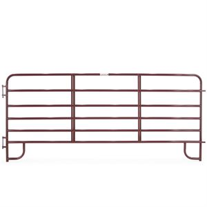 12 - 6 Bar Red Tube Corral Panel, 1-3/4 Round x 19 Gauge