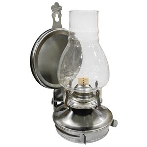 10 In. Pewter Oil Lamp, Wall Mount