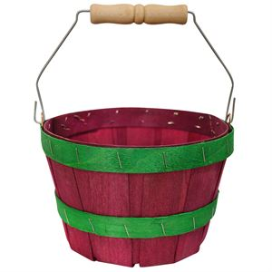2 Quart Round Basket Dyed Red with Green Bands & Handle