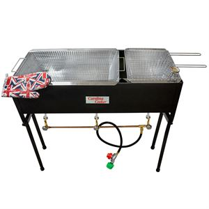 Carolina Cooker Fryer, 3 Burner,  2 Vats, 3 Baskets