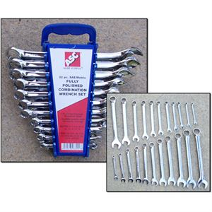 22-Piece Combination Wrench Set SAE and Metric Sizes