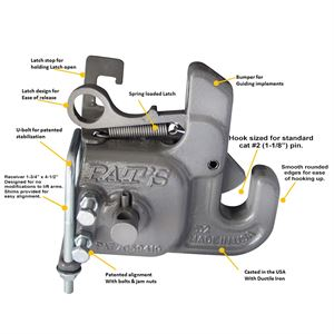 Pat's 3-Point Quick Hitch, Category 2, Stabilizer Bar Included
