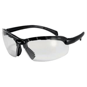 Bifocal Safety Glasses, Black Frame, 2.00 Magnification