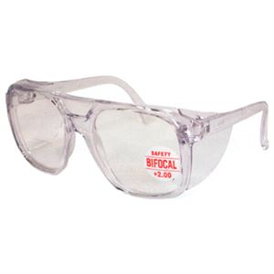Bifocal Safety Glasses with Side Shields, 2.00 Magnification