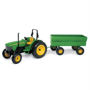 John Deere Toy Tractor with Wagon, 1:16 Scale