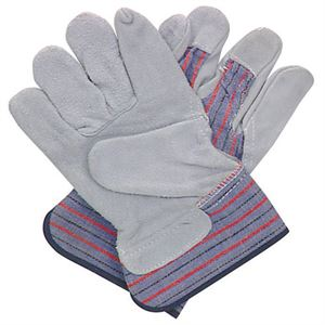 Leather and Canvas Work Gloves, Leather Palm, 3 Pair