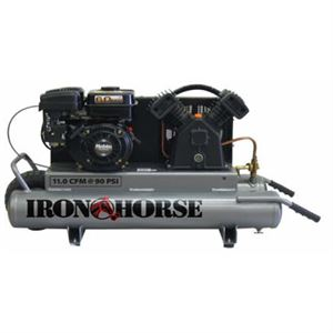 Gas Air Compressor, 11.0 CFM, 10 Gallon Capacity Twin Tanks