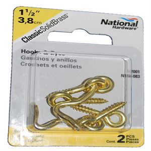 1-1/2 Hook and Eye Solid Brass, 2 Pack