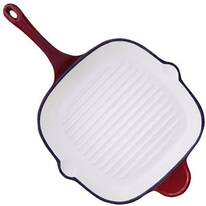 Enameled Cast Iron Griddle, 11-1/4 In. x 11-1/4 In., Red