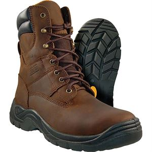 Steel Toe Work Boots, 8 In. Tall, Wide Size 8