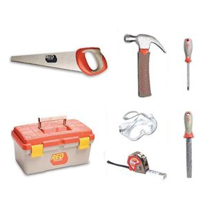 Red Toolbox for Kids, 6 Pc. Tool Set, Ages 8 and Up