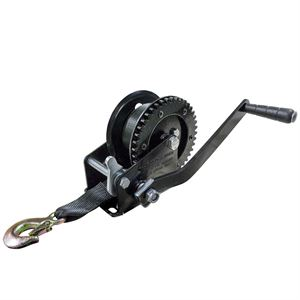 Pulling Winch with Strap and Hook, 1200 Lb. Capacity