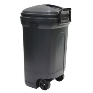 Black Trash Can with Wheels, 34 Gallon