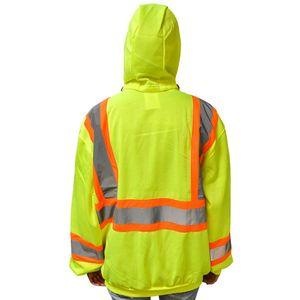 Hi-Viz Yellow Hooded Sweatshirt, Class 2, XL