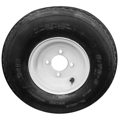 Trailer Tire And Wheel, 5.70-8, LRC, 4 Bolt