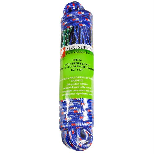 Multi-Color Utility Rope, 1/2 In. x 50 Ft.