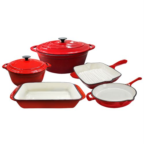 7pc Enamel Cast Iron Set