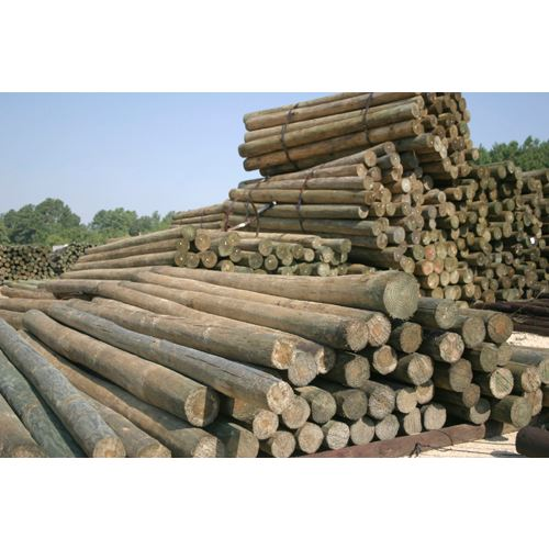 CCA Treated Fence Post, 4 to 5 In. Diameter, 8 Feet Tall