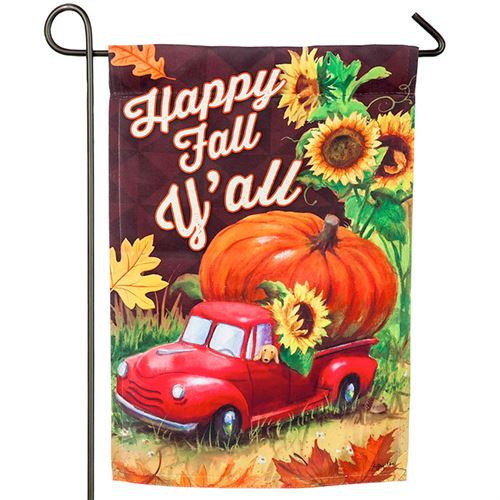 Red Pickup Truck Happy Fall YAll Garden Flag