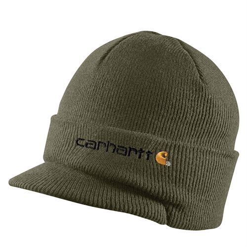 Army Green Knit Hat With Visor